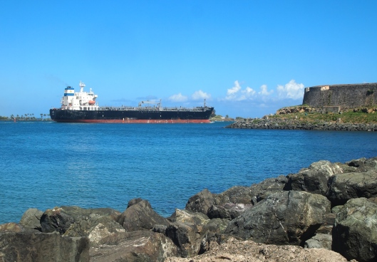 A ship passes El Morro