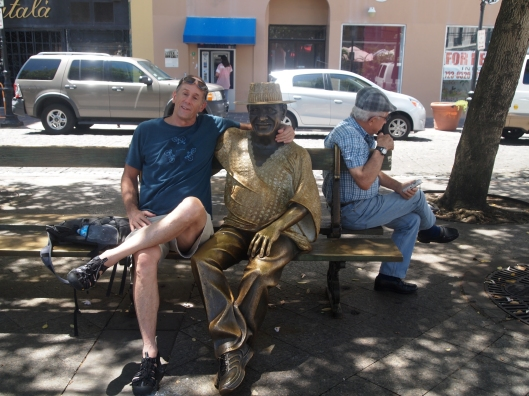 A life-sized statue honoring Curet Alonso, Puerto Rican composer of over 2,000 salsa songs, now (literally) sits at San Juan's Plaza de Armas, in Alonso's favorite bench spot.