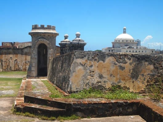 Castillo de San Cristóbal with the Capitol building in the background