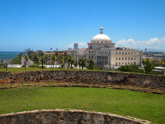 Grounds of Castillo de San Cristóbal with Capitol Building