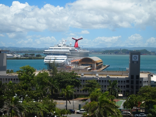 Cruise ship in the Bahia de San Juan, view from Castillo de San Cristóbal