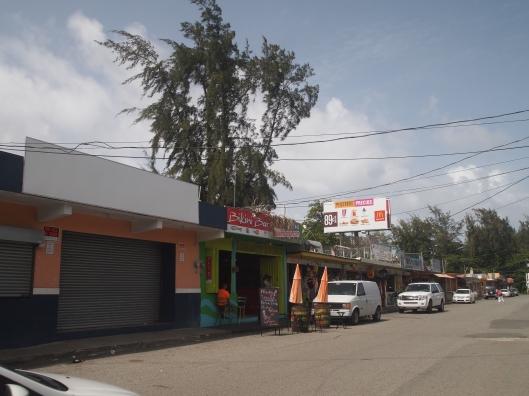 Food kiosks at Playa Luquillo